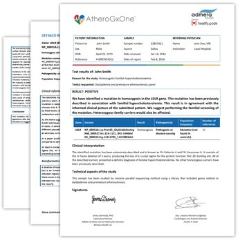 CardioGxOne Cardiovascular Genetic Test Report